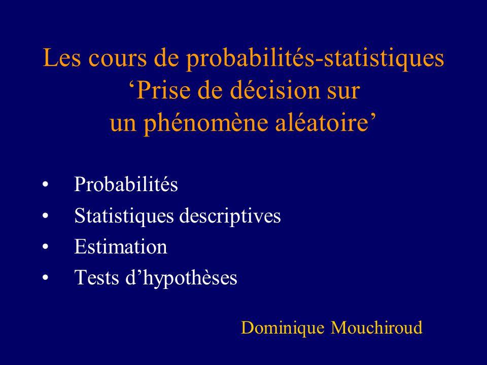 Les cours de probabilités-statistiquesPrise de décision sur un phénomène aléatoire Probabilités Statistiques descriptives Estimation Tests dhypothèses