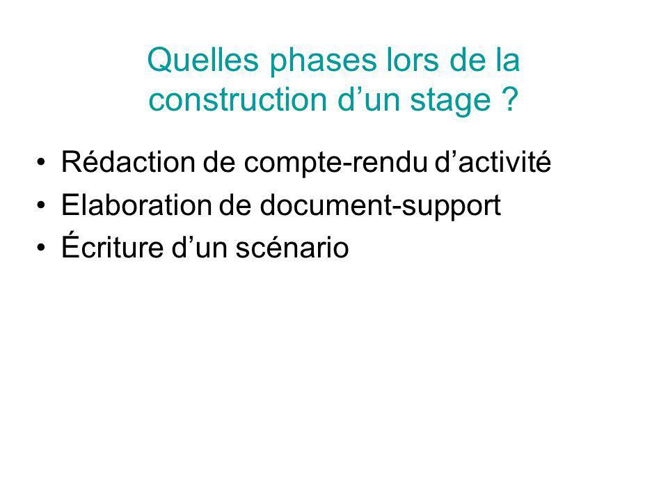 Ce quon propose : des manipulations de A à Z des astuces des exercices des temps de recherche Quel contenu pour un stage ?