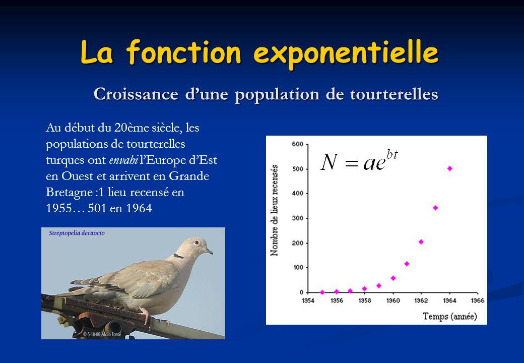 La fonction exponentielle Croissance dune population de tourterelles Au début du 20ème siècle, les populations de tourterelles turques ont envahi lEur