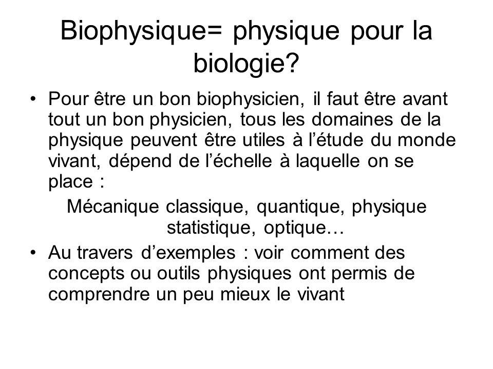 Biophysique= physique pour la biologie? Pour être un bon biophysicien, il faut être avant tout un bon physicien, tous les domaines de la physique peuv