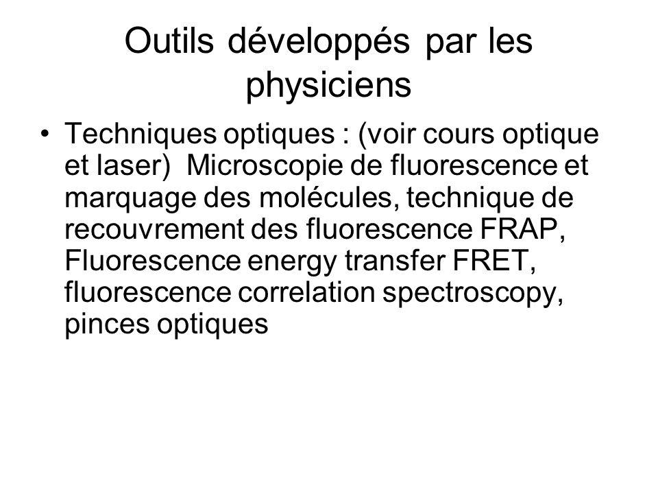 Outils développés par les physiciens Techniques optiques : (voir cours optique et laser) Microscopie de fluorescence et marquage des molécules, techni