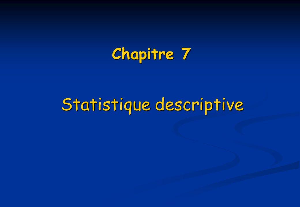 Chapitre 7 Statistique descriptive