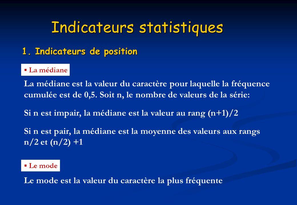 Indicateurs statistiques 1. Indicateurs de position La médiane La médiane est la valeur du caractère pour laquelle la fréquence cumulée est de 0,5. So