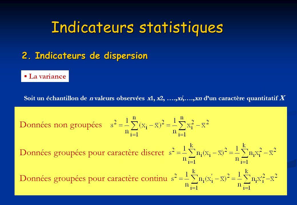 Indicateurs statistiques 2. Indicateurs de dispersion La variance Soit un échantillon de n valeurs observées x1, x2, ….,xi,….,xn dun caractère quantit