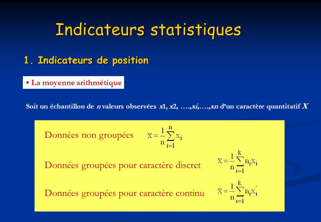 Indicateurs statistiques 1. Indicateurs de position Soit un échantillon de n valeurs observées x1, x2, ….,xi,….,xn dun caractère quantitatif X La moye