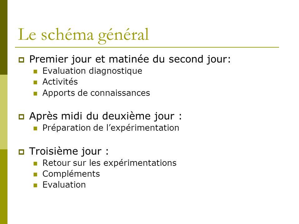 Le schéma général Premier jour et matinée du second jour: Evaluation diagnostique Activités Apports de connaissances Après midi du deuxième jour : Pré