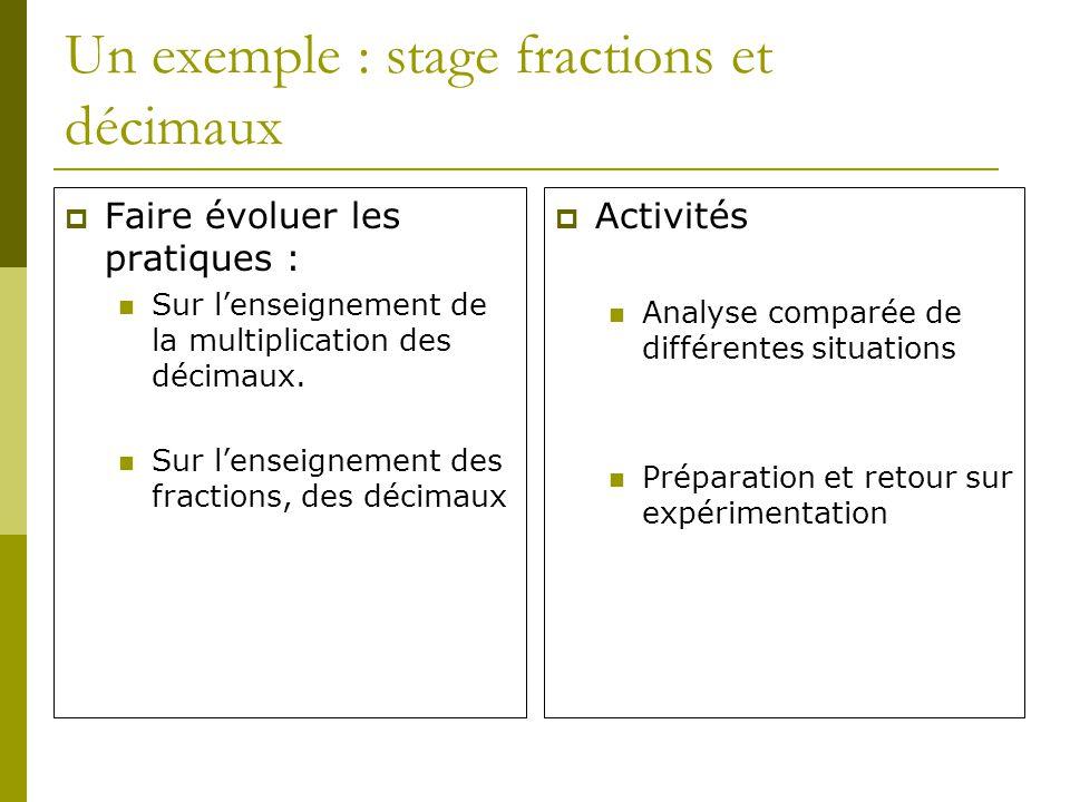 Un exemple : stage fractions et décimaux Faire évoluer les pratiques : Sur lenseignement de la multiplication des décimaux. Sur lenseignement des frac