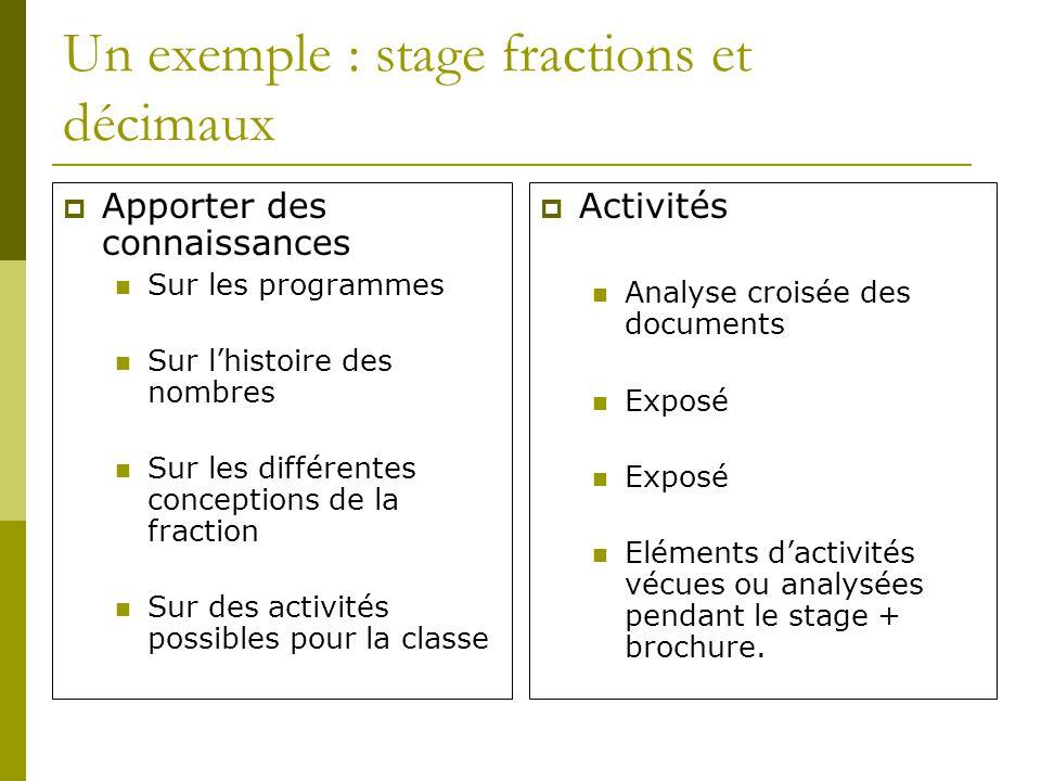 Un exemple : stage fractions et décimaux Apporter des connaissances Sur les programmes Sur lhistoire des nombres Sur les différentes conceptions de la