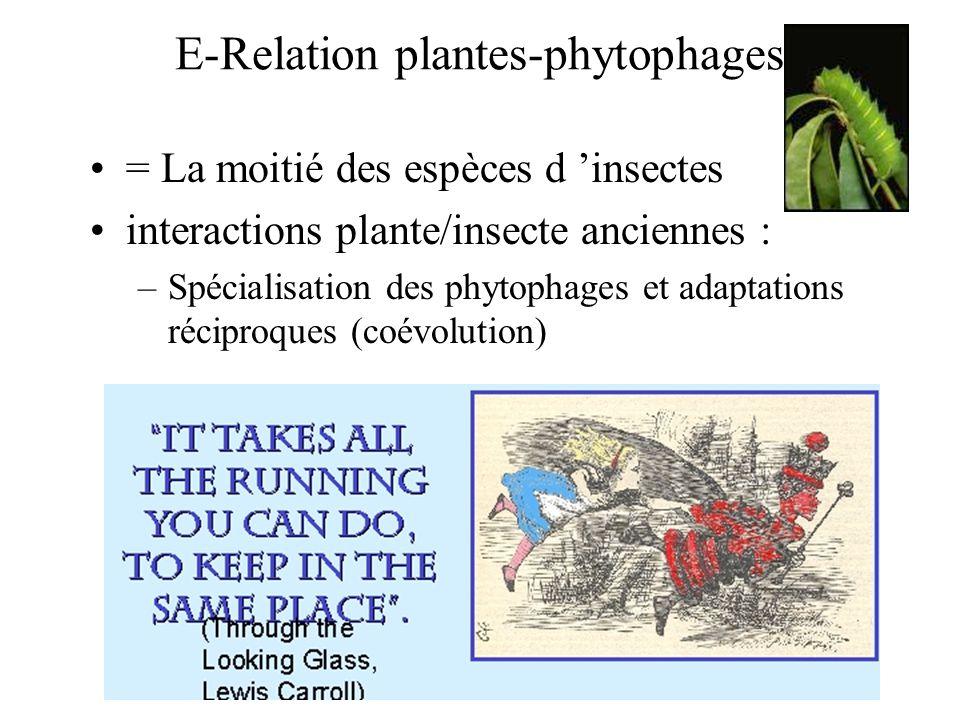 E-Relation plantes-phytophages = La moitié des espèces d insectes interactions plante/insecte anciennes : –Spécialisation des phytophages et adaptatio