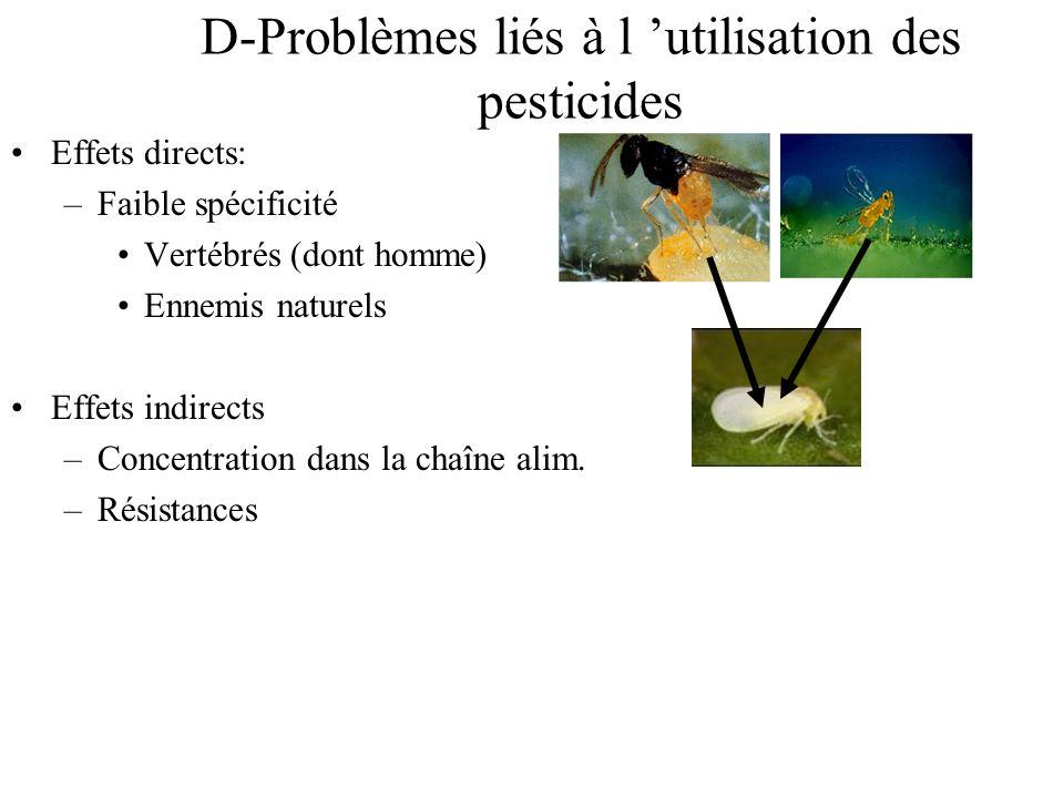 D-Problèmes liés à l utilisation des pesticides Effets directs: –Faible spécificité Vertébrés (dont homme) Ennemis naturels Effets indirects –Concentr