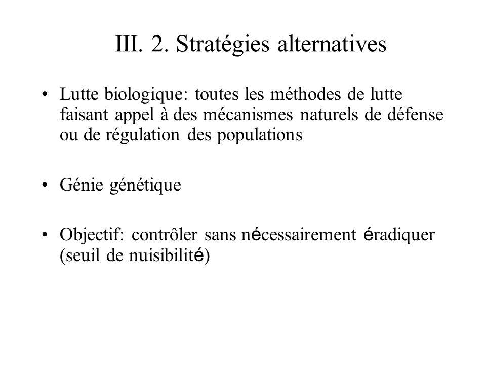 III. 2. Stratégies alternatives Lutte biologique: toutes les méthodes de lutte faisant appel à des mécanismes naturels de défense ou de régulation des