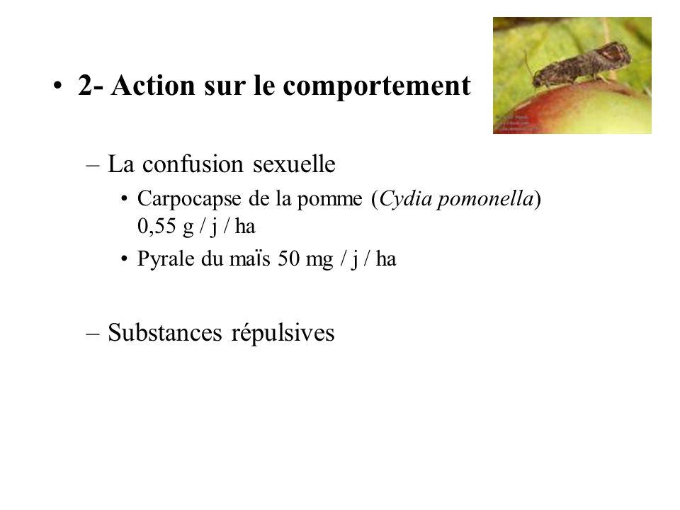 2- Action sur le comportement –La confusion sexuelle Carpocapse de la pomme (Cydia pomonella) 0,55 g / j / ha Pyrale du ma ï s 50 mg / j / ha –Substan