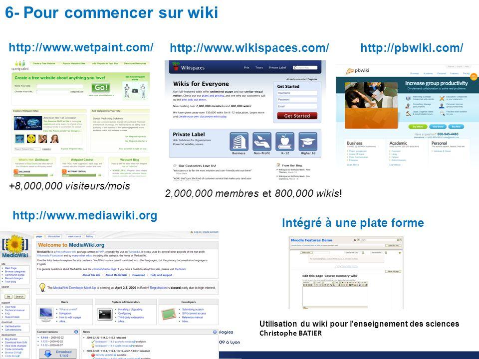 Utilisation du wiki pour l enseignement des sciences Christophe BATIER 6- Pour commencer sur wiki http://www.wetpaint.com/ http://pbwiki.com/http://www.wikispaces.com/ 2,000,000 membres et 800,000 wikis.