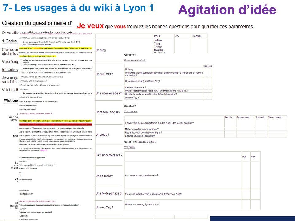 Utilisation du wiki pour l enseignement des sciences Christophe BATIER 7- Les usages à du wiki à Lyon 1 Agitation didée