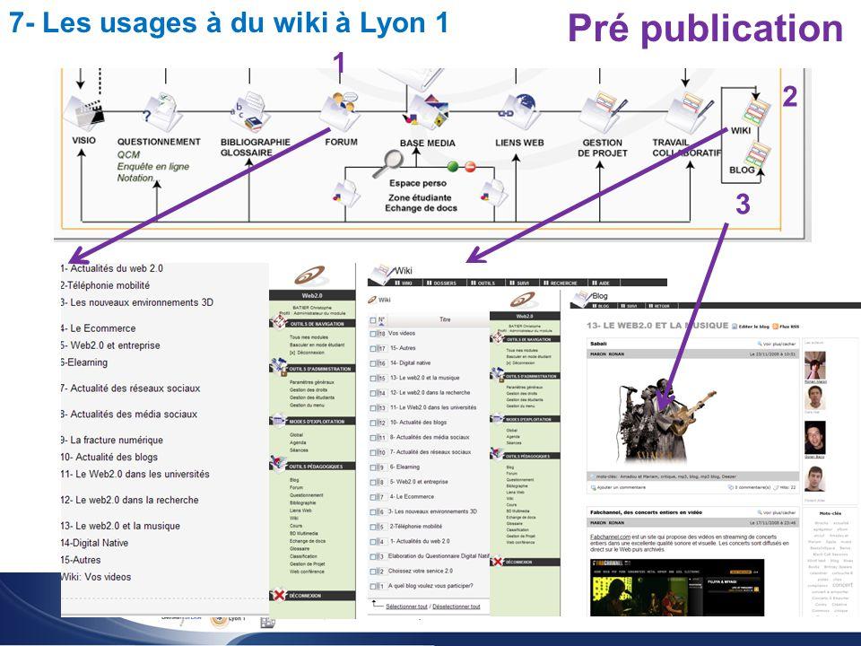 Utilisation du wiki pour l enseignement des sciences Christophe BATIER 7- Les usages à du wiki à Lyon 1 Pré publication 1 2 3