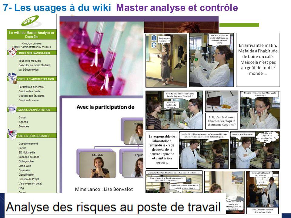 Utilisation du wiki pour l enseignement des sciences Christophe BATIER 7- Les usages à du wiki Master analyse et contrôle