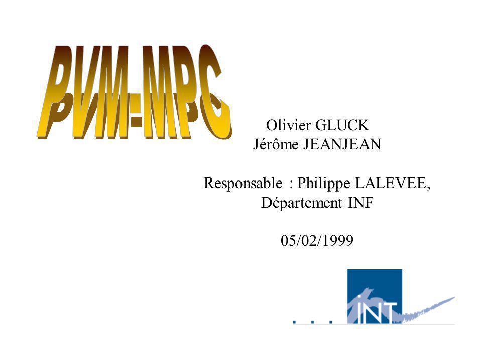 Olivier GLUCK Jérôme JEANJEAN Responsable : Philippe LALEVEE, Département INF 05/02/1999
