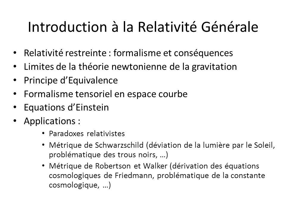 Introduction à la Relativité Générale Relativité restreinte : formalisme et conséquences Limites de la théorie newtonienne de la gravitation Principe