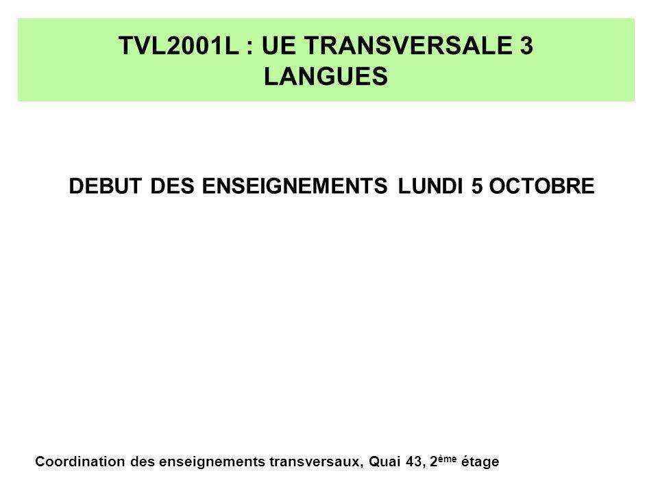 TVL2001L : UE TRANSVERSALE 3 DEVELOPPEMENT DURABLE- CM 3 COURS DE 1H30 LE VENDREDI A 17H30 LES COURS SONT REPETES SUR DEUX CYLES CYCLE 1 : 2, 9 et 16 OCTOBRE CYCLE 2 : 23 ET 30 OCTOBRE, 6 NOVEMBRE REPARTITION DES ETUDIANTS : VOIR AFFICHAGE Coordination des enseignements transversaux, Quai 43, 2 ème étage
