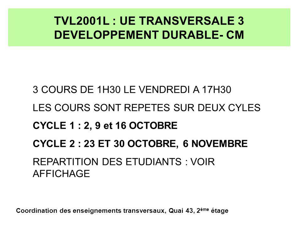 TVL2001L : UE TRANSVERSALE 3 DEVELOPPEMENT DURABLE- CM 3 COURS DE 1H30 LE VENDREDI A 17H30 LES COURS SONT REPETES SUR DEUX CYLES CYCLE 1 : 2, 9 et 16