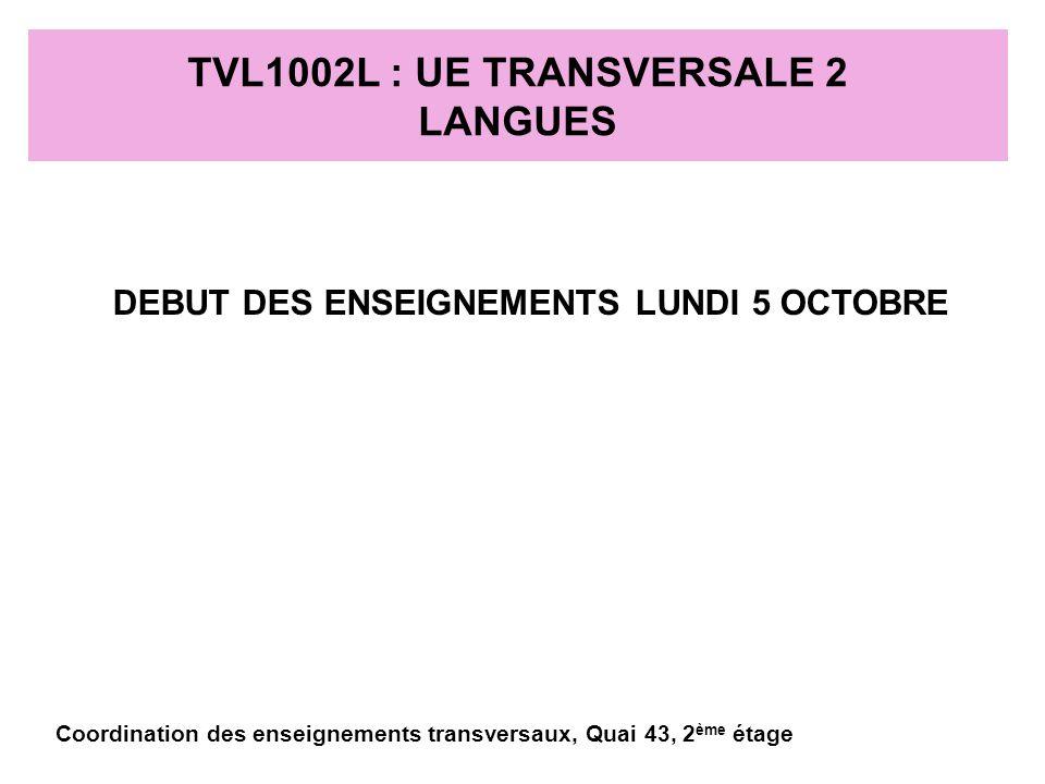 TVL1002L : UE TRANSVERSALE 2 RECHERCHE DOCUMENTAIRE 6 SEANCES DE TRAVAUX PRATIQUES ENSEIGNEMENT TOUS LES QUINZE JOURS DEBUT DES ENSEIGNEMENTS LE LUNDI 5 OCTOBRE Coordination des enseignements transversaux, Quai 43, 2 ème étage