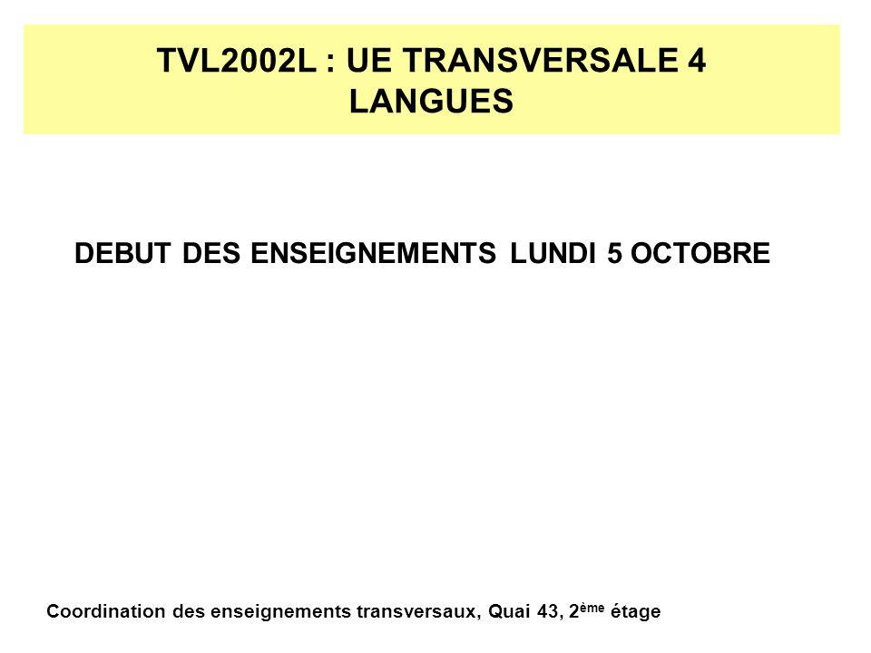 TVL2002L : UE TRANSVERSALE 4 S.H.S.15 HEURES DENSEIGNEMENTS REPARTIS SUR 4 SAMEDIS.