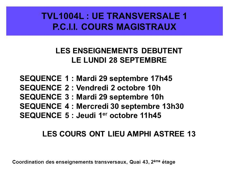 TVL1004L : UE TRANSVERSALE 1 P.C.I.I.