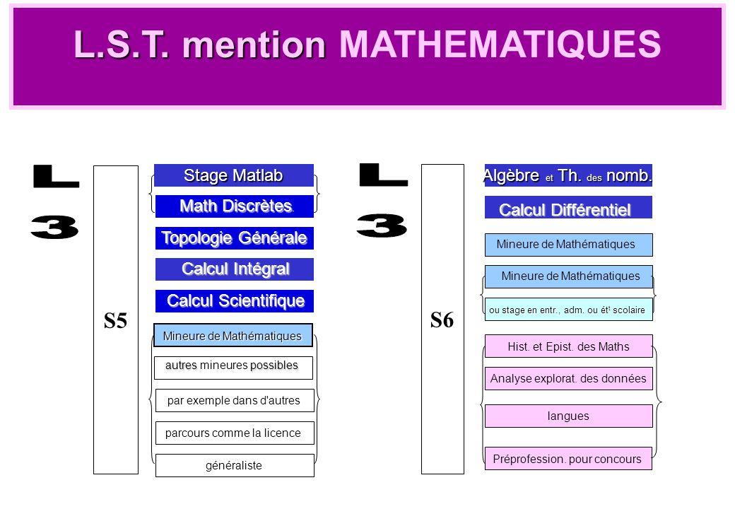 S5 Stage Matlab Mineure de Mathématiques autres possibles autres mineures possibles par exemple dans d'autres parcours comme la licence généraliste L.