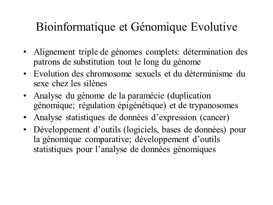 Bioinformatique et Génomique Evolutive Alignement triple de génomes complets: détermination des patrons de substitution tout le long du génome Evoluti