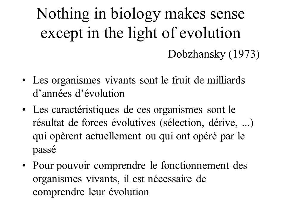 Nothing in biology makes sense except in the light of evolution Dobzhansky (1973) Les organismes vivants sont le fruit de milliards dannées dévolution