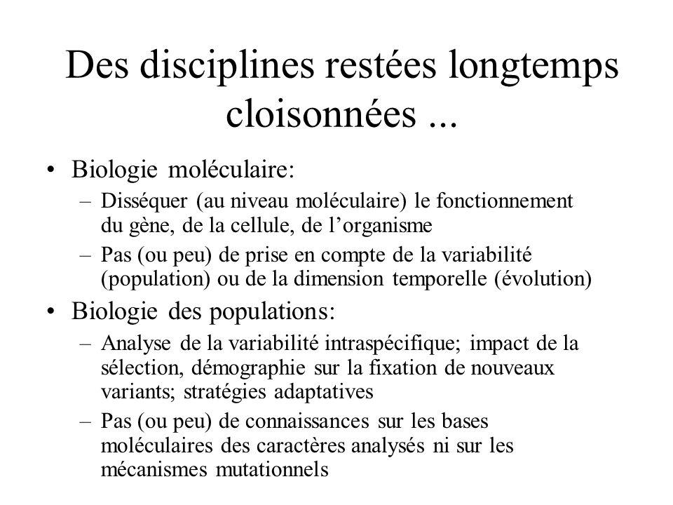 Des disciplines restées longtemps cloisonnées... Biologie moléculaire: –Disséquer (au niveau moléculaire) le fonctionnement du gène, de la cellule, de