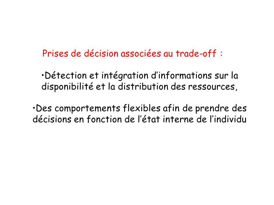 Prises de décision associées au trade-off : Détection et intégration dinformations sur la disponibilité et la distribution des ressources, Des comportements flexibles afin de prendre des décisions en fonction de létat interne de lindividu