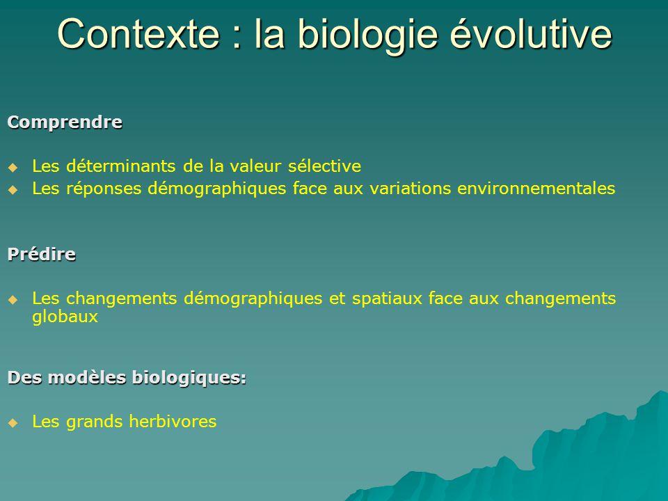 Contexte : la biologie évolutive Comprendre Les déterminants de la valeur sélective Les réponses démographiques face aux variations environnementalesPrédire Les changements démographiques et spatiaux face aux changements globaux Des modèles biologiques: Les grands herbivores