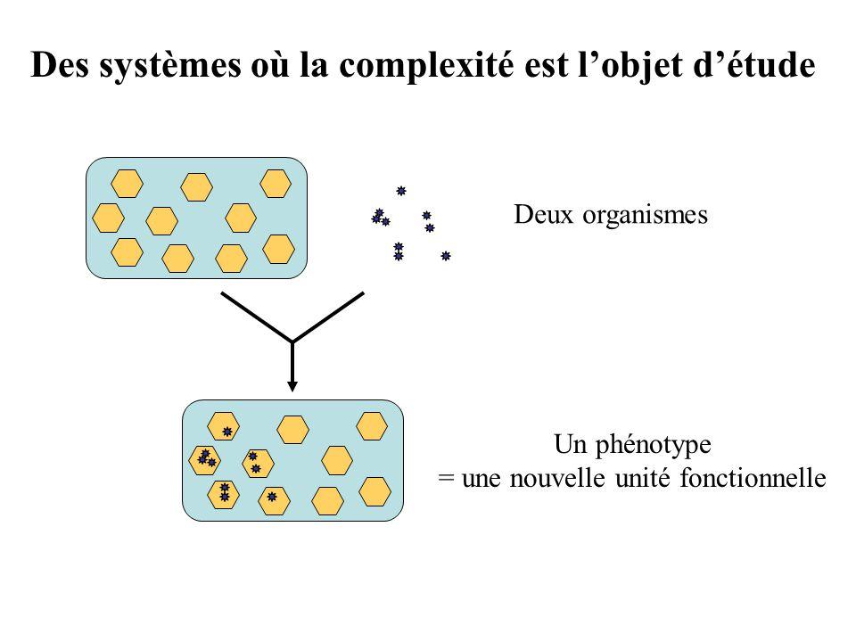 Deux organismes Un phénotype = une nouvelle unité fonctionnelle Des systèmes où la complexité est lobjet détude