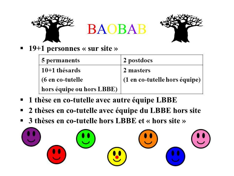 BAOBABBAOBAB 19+1 personnes « sur site » 1 thèse en co-tutelle avec autre équipe LBBE 2 thèses en co-tutelle avec équipe du LBBE hors site 3 thèses en co-tutelle hors LBBE et « hors site » 5 permanents2 postdocs 10+1 thésards (6 en co-tutelle hors équipe ou hors LBBE) 2 masters (1 en co-tutelle hors équipe)