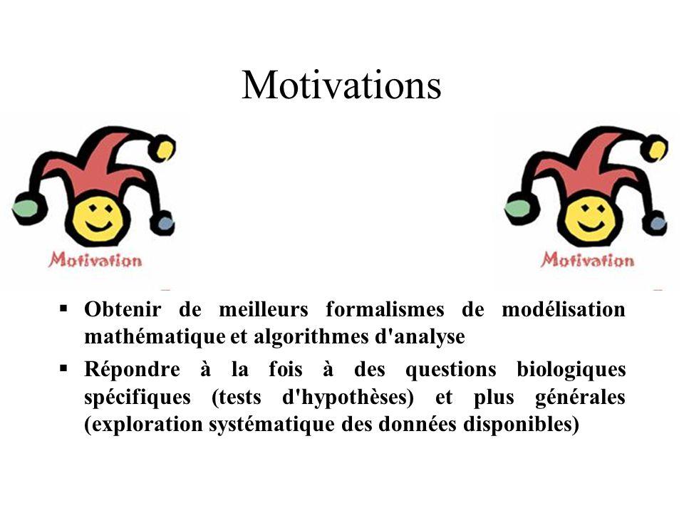 Motivations Obtenir de meilleurs formalismes de modélisation mathématique et algorithmes d analyse Répondre à la fois à des questions biologiques spécifiques (tests d hypothèses) et plus générales (exploration systématique des données disponibles)