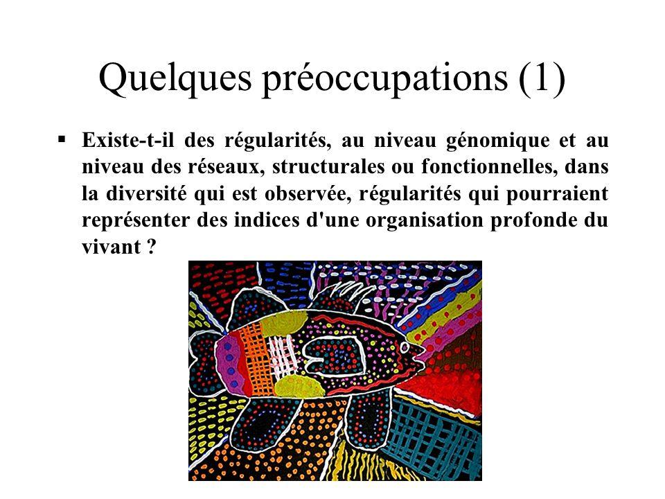 Quelques préoccupations (1) Existe-t-il des régularités, au niveau génomique et au niveau des réseaux, structurales ou fonctionnelles, dans la diversité qui est observée, régularités qui pourraient représenter des indices d une organisation profonde du vivant