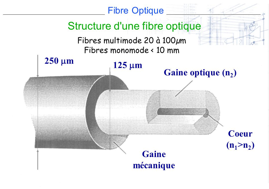 Fibre Optique CIN ST MANDRIER Gaine mécanique 250 m Gaine optique (n 2 ) 125 m Coeur (n 1 >n 2 ) Fibres multimode 20 à 100µm Fibres monomode < 10 mm S