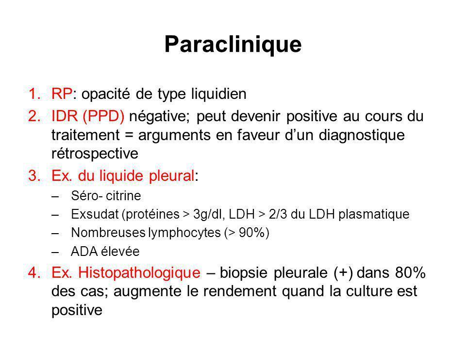 Paraclinique 1.RP: opacité de type liquidien 2.IDR (PPD) négative; peut devenir positive au cours du traitement = arguments en faveur dun diagnostique rétrospective 3.Ex.