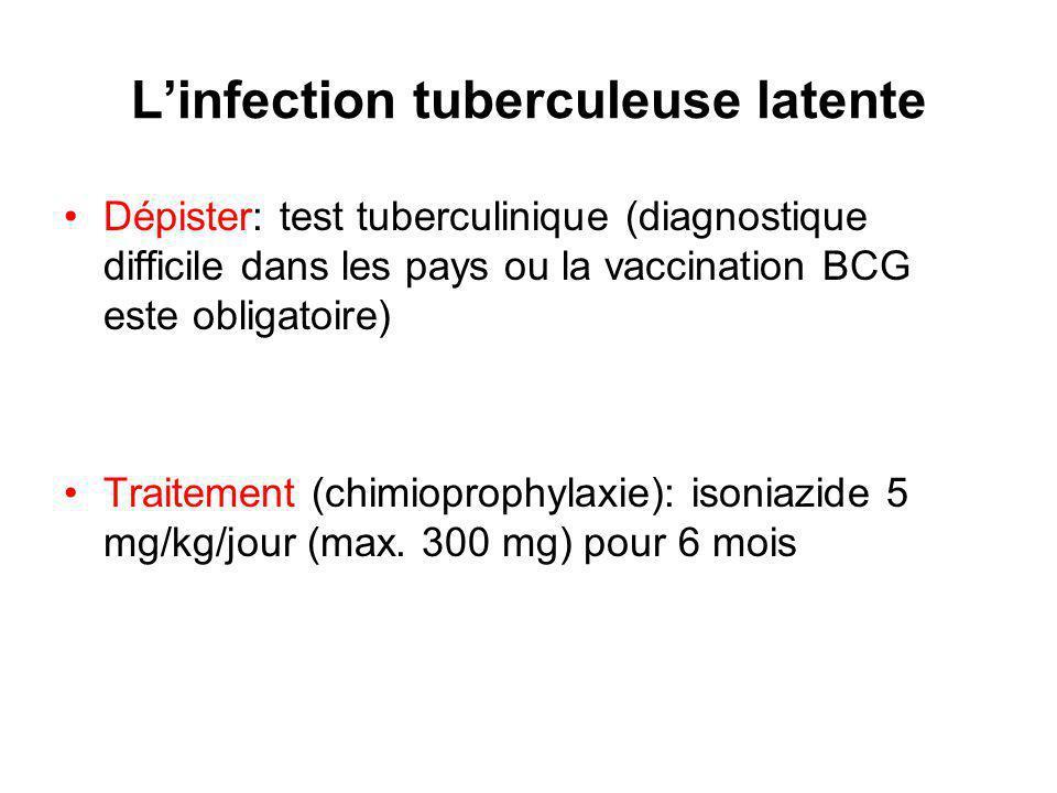 Linfection tuberculeuse latente Dépister: test tuberculinique (diagnostique difficile dans les pays ou la vaccination BCG este obligatoire) Traitement (chimioprophylaxie): isoniazide 5 mg/kg/jour (max.