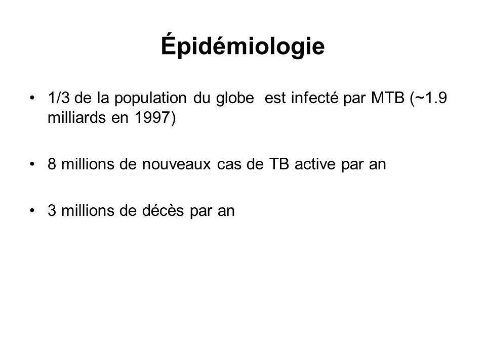 Épidémiologie 1/3 de la population du globe est infecté par MTB (~1.9 milliards en 1997) 8 millions de nouveaux cas de TB active par an 3 millions de décès par an