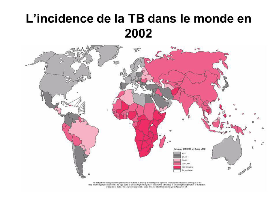 Lincidence de la TB dans le monde en 2002