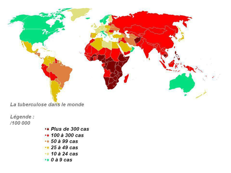 La tuberculose dans le monde Légende : /100 000 Plus de 300 cas 100 à 300 cas 50 à 99 cas 25 à 49 cas 10 à 24 cas 0 à 9 cas