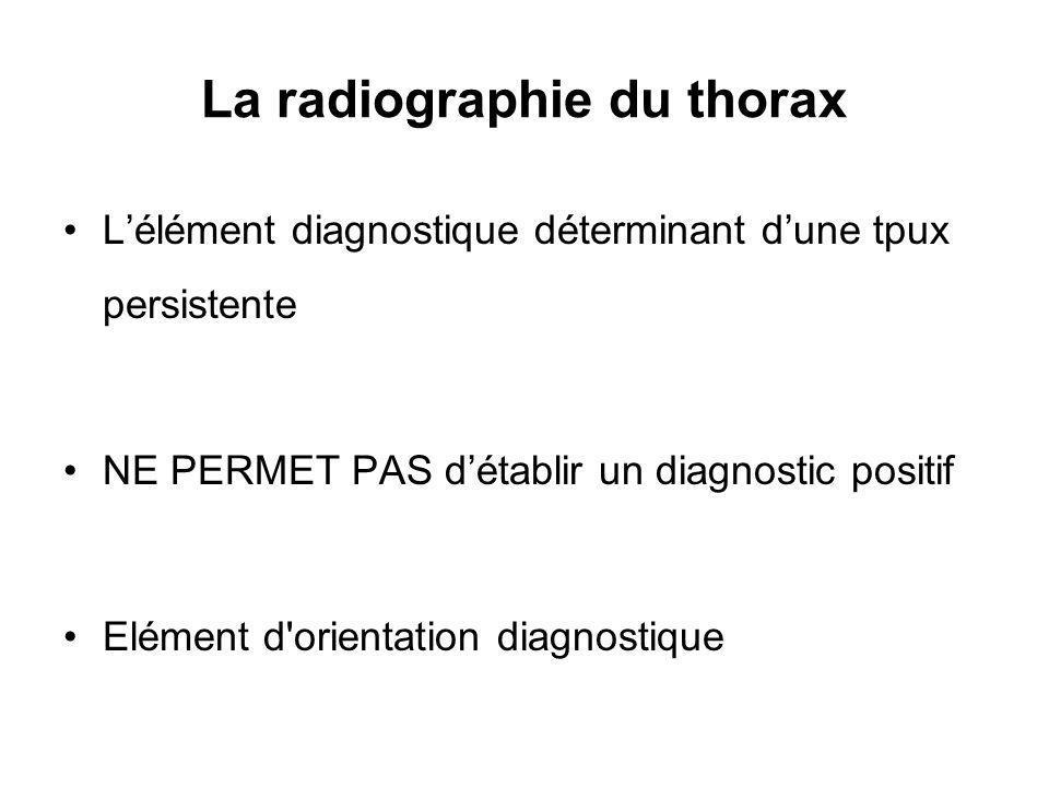 La radiographie du thorax Lélément diagnostique déterminant dune tpux persistente NE PERMET PAS détablir un diagnostic positif Elément d orientation diagnostique