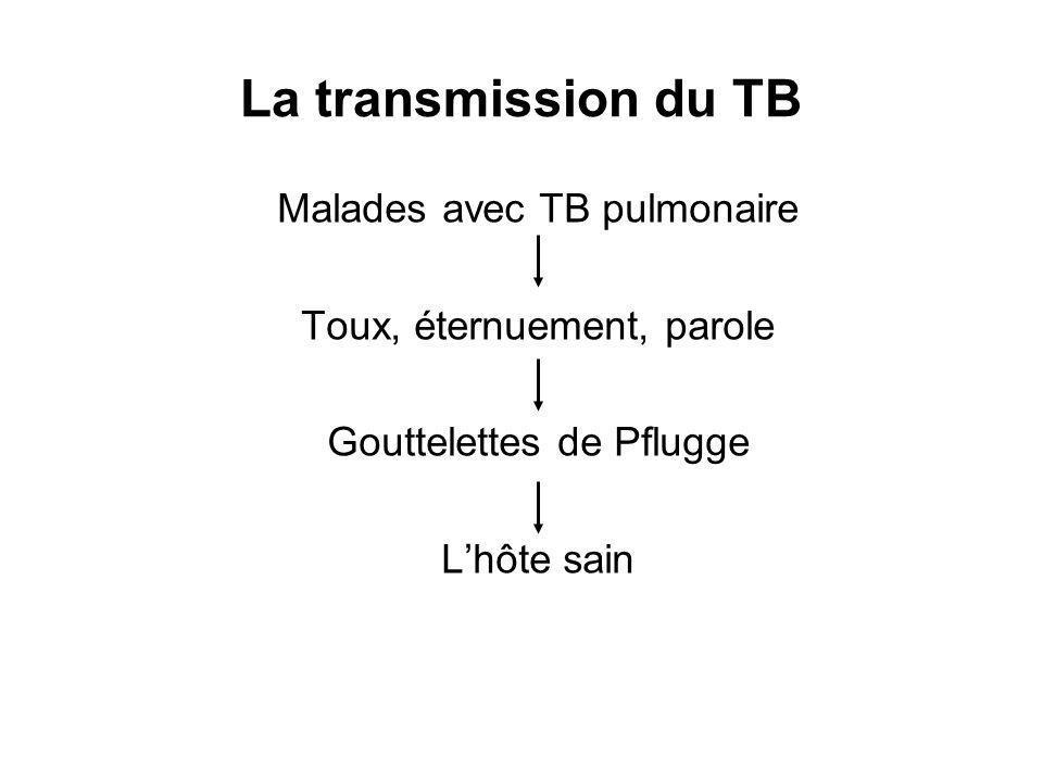 Malades avec TB pulmonaire Toux, éternuement, parole Gouttelettes de Pflugge Lhôte sain La transmission du TB