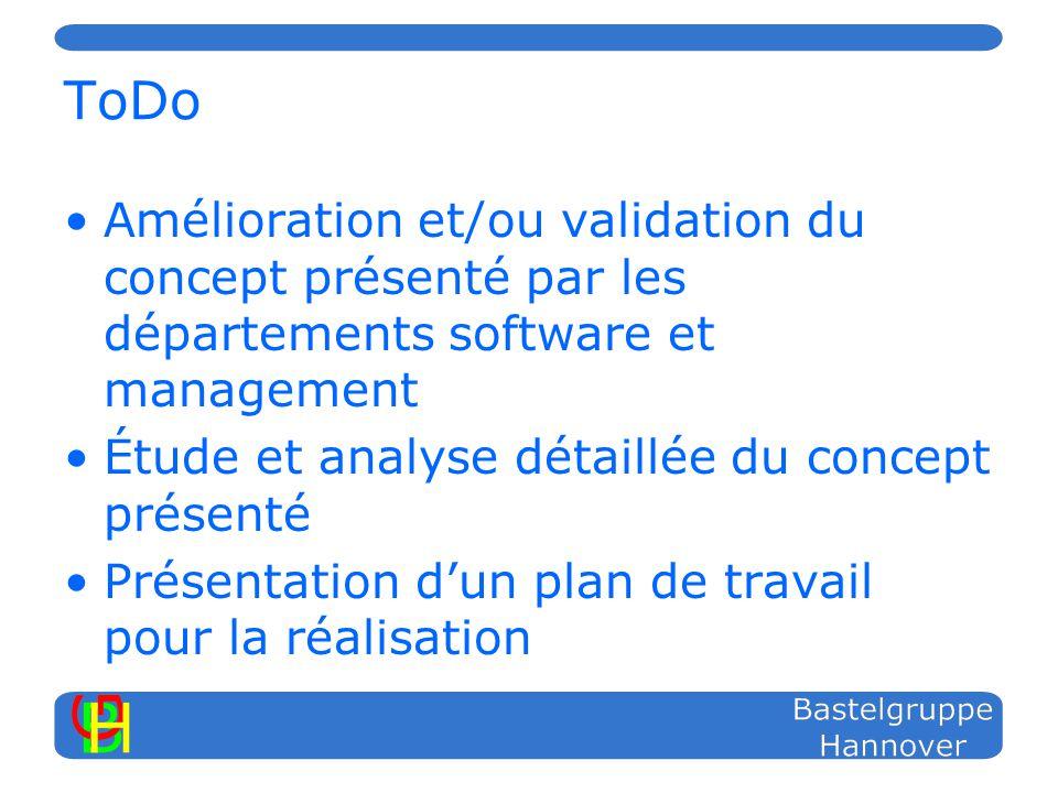 ToDo Amélioration et/ou validation du concept présenté par les départements software et management Étude et analyse détaillée du concept présenté Présentation dun plan de travail pour la réalisation