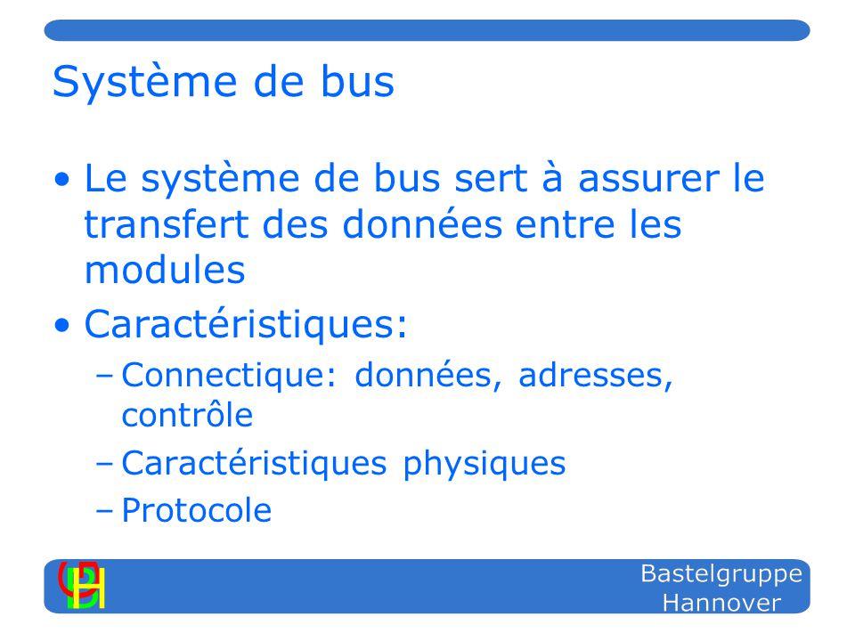Système de bus Le système de bus sert à assurer le transfert des données entre les modules Caractéristiques: –Connectique: données, adresses, contrôle –Caractéristiques physiques –Protocole