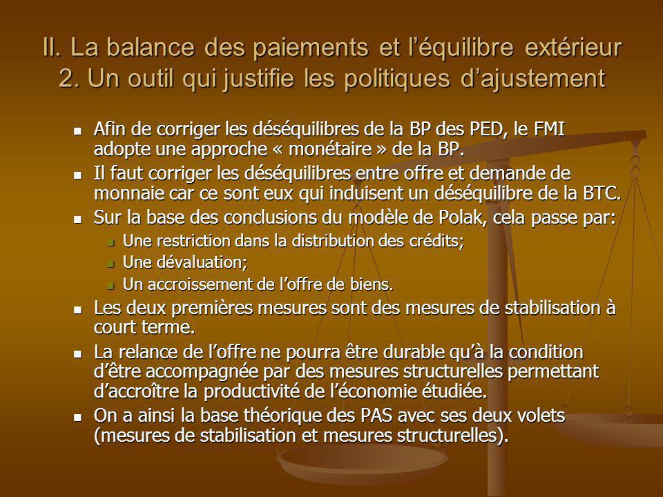 II. La balance des paiements et léquilibre extérieur 2. Un outil qui justifie les politiques dajustement Afin de corriger les déséquilibres de la BP d