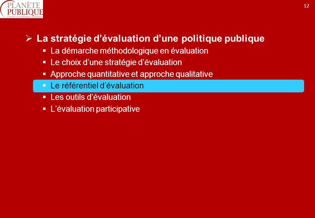 12 La stratégie dévaluation dune politique publique La démarche méthodologique en évaluation Le choix dune stratégie dévaluation Approche quantitative et approche qualitative Le référentiel dévaluation Les outils dévaluation Lévaluation participative