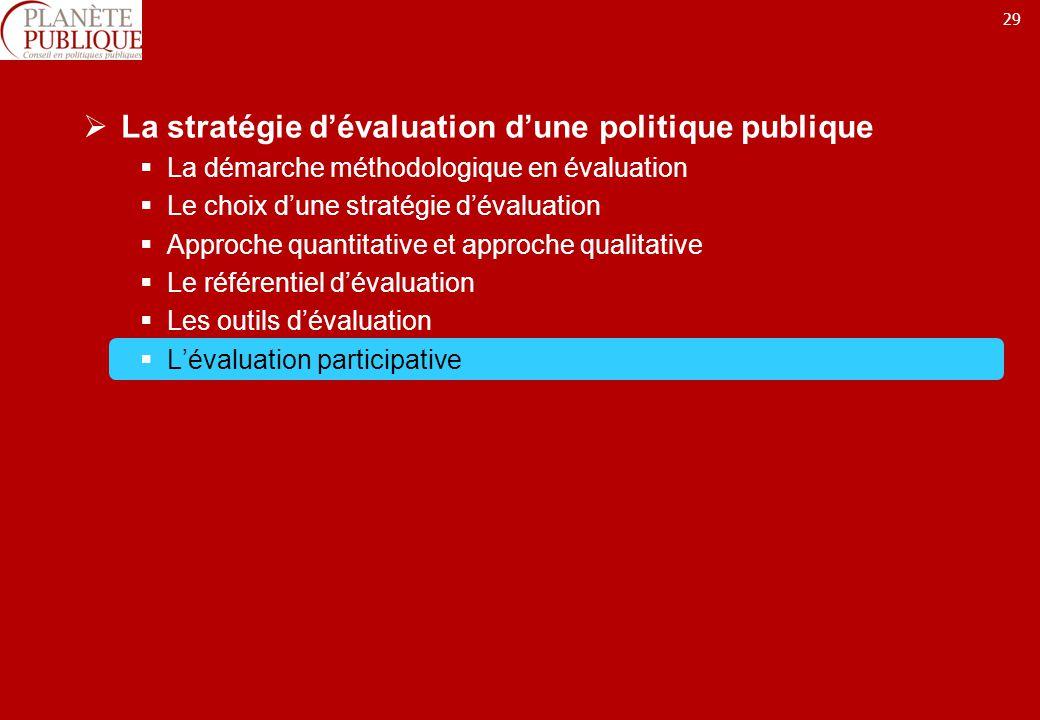 29 La stratégie dévaluation dune politique publique La démarche méthodologique en évaluation Le choix dune stratégie dévaluation Approche quantitative et approche qualitative Le référentiel dévaluation Les outils dévaluation Lévaluation participative